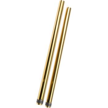 """HardDrive 49mm Gold Fork Tubes for 2006-2017 Harley Dyna - 2"""" Over Stock"""