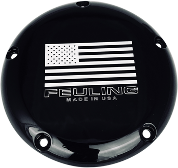 Feuling American Flag Logo Derby Cover for 1999-2018 Harley Big Twin - Black