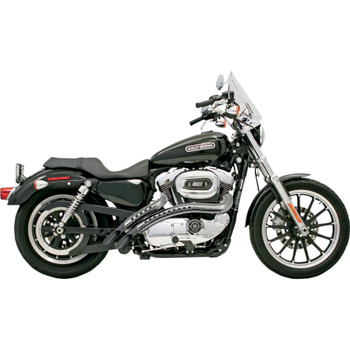 Bassani Radial Sweepers Exhaust for 1986-2003 Harley Sportster - Black with Chrome Hole Shields