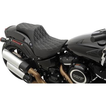 Drag Specialties Predator III Seat for 2018-2020 Harley Fat Bob - Double Diamond Silver
