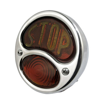 """No School Choppers """"STOP"""" 28 Duolamp Tail Light - Stainless"""