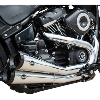 S&S Grand National 2-Into-2 Exhaust with Cat for 2018-2019 Harley Fat Bob - Chrome
