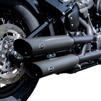 S&S Slash-Cut Mufflers with Cats for 2018-2019 Harley Softail - Black