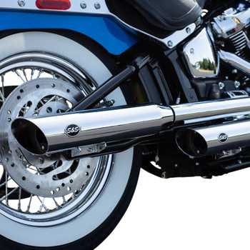 S&S Slash-Cut Mufflers for 2018-2019 Harley Heritage Softail and Deluxe - Chrome