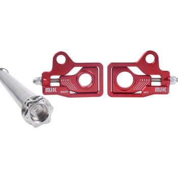 MJK Performance Low Profile Rear Axle Adjuster Kit for 2009-2019 Harley Touring - Red