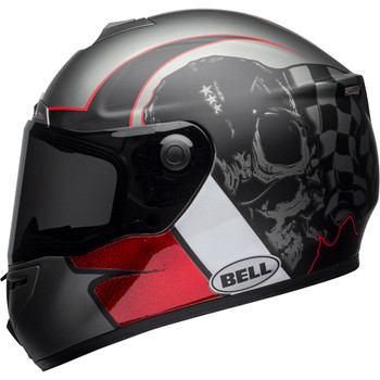 Bell SRT Helmet - Hart Luck Charcoal/White/Red Skull