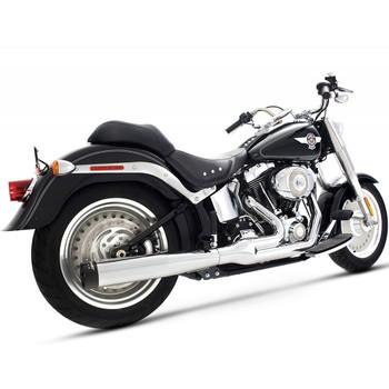 Rinehart 2-into-1 Exhaust for 1987-2017 Harley Softail - Chrome/Black