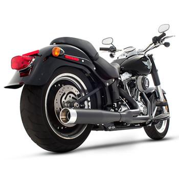 Rinehart 2-into-1 Exhaust for 1987-2017 Harley Softail - Black/Chrome