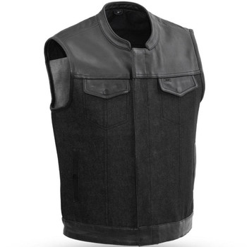 First Mfg. 49/51 Vest w/ Collar - Leather/Denim