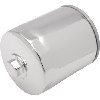 Drag Specialties Spin-On Oil Filter with Nut for Harley Twin Cam and M8 - Chrome