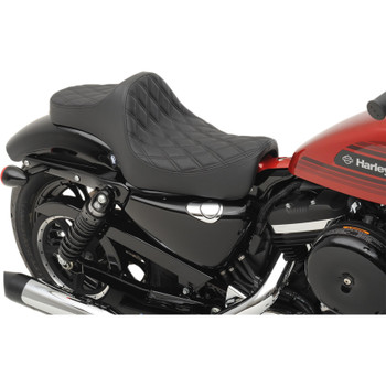 Drag Specialties Predator III Seat for 2004-2019 Harley Sportster - Double Diamond Black