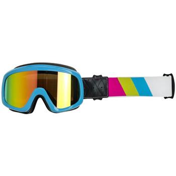 Biltwell Overland 2.0 Tri-Stripe Goggle - Jet Boat Blue/Yellow/Pink