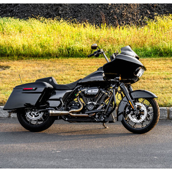 Two Brothers Racing 2-into-1 Slash Cut Shorty Exhaust for 2017-2020 Harley Touring - Stainless