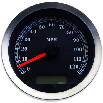 "Drag Specialties 4"" Programmable Electronic MPH Speedometer for Harley - Black Face"