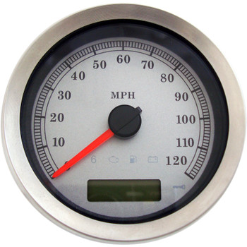 """Drag Specialties 4"""" Programmable Electronic MPH Speedometer for Harley - White Face"""