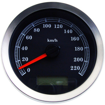 """Drag Specialties 4"""" Programmable Electronic KM/H Speedometer for Harley - Black Face"""