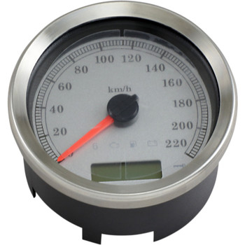 """Drag Specialties 4"""" Programmable Electronic KM/H Speedometer for Harley - White Face"""