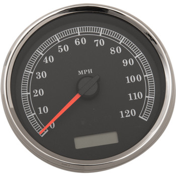 "Drag Specialties 5"" Programmable Electronic MPH Speedometer for Harley - Black Face"