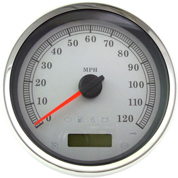 """Drag Specialties 5"""" Programmable Electronic MPH Speedometer for Harley - White Face"""