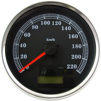 "Drag Specialties 5"" Programmable Electronic KM/H Speedometer for Harley - Black Face"