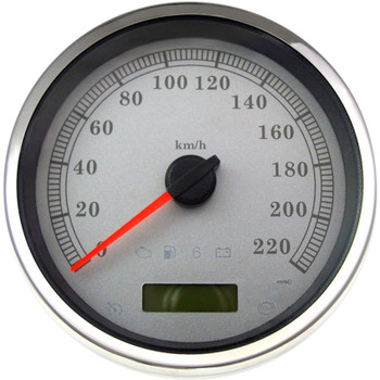 """Drag Specialties 5"""" Programmable Electronic KM/H Speedometer for Harley - White Face"""
