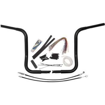 """Fat Baggers 1-1/4"""" EZ Install Round Top 14"""" Handlebar Kit for 2008-2013 Harley Touring - Black"""