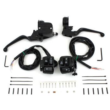 V-Twin Black Dual Disc Handlebar Control Kit with Switches for 1996-2006 Harley