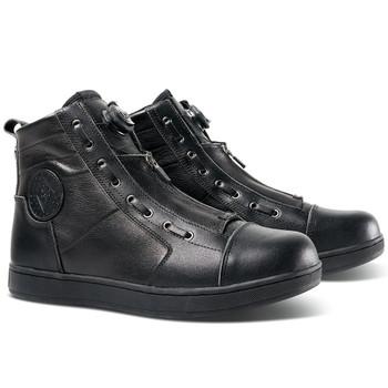 Roland Sands Punk Race Black Leather Moto Shoes