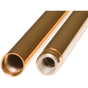 "Custom Cycle Engineering 39mm Gold Fork Tubes for Harley Dyna & Sportster - 2"" Over Stock"