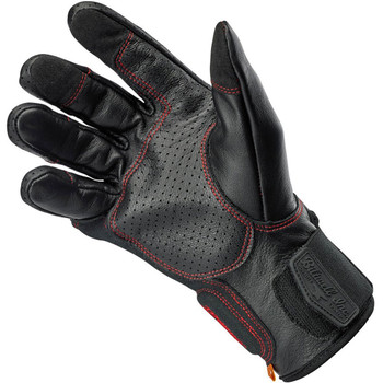 Biltwell Borrego CE Leather Gloves - Black/Red