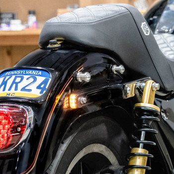 Alloy Art FXR Struts with Built in LED Signals for Harley FXR - Black