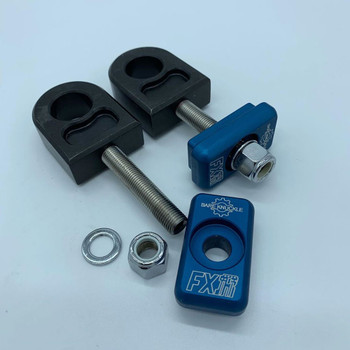 Bare Knuckle Complete Axle Adjuster Kit for 1980-2001 Harley - Blue