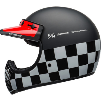 Bell Moto 3 Helmet - Fasthouse Checkers Matte/Gloss Black/White/Red