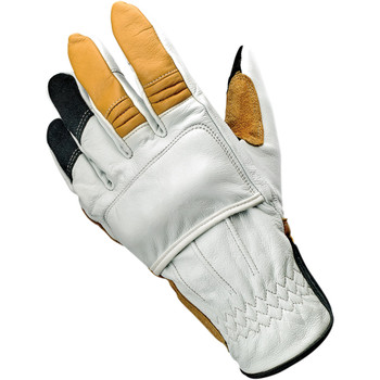 Biltwell Belden Leather Gloves - Cement/Yellow