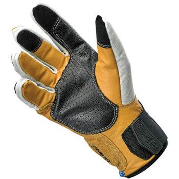Biltwell Belden Leather Gloves - Cement/Yellow