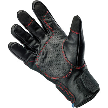 Biltwell Belden Leather Gloves - Black Redline