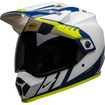 Bell MX-9 Adventure MIPS Helmet - Dash Gloss White/Blue/Hi-Viz