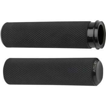 Arlen Ness Knurled Fusion Grips for Harley Dual Cable - Black
