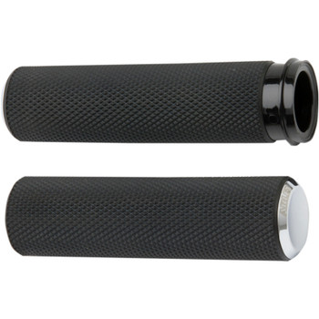 Arlen Ness Knurled Fusion Grips for Harley Electronic Throttle - Chrome