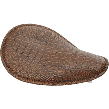 Drag Specialties Small Low-Profile Spring Solo Seat - Brown Leather Faux Alligator