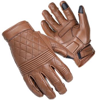 Women's Cortech Scrapper Diamond Quilted Short Cuff Leather Gloves - Brown
