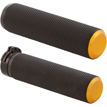 Arlen Ness Knurled Fusion Grips for Harley Dual Cable - Gold