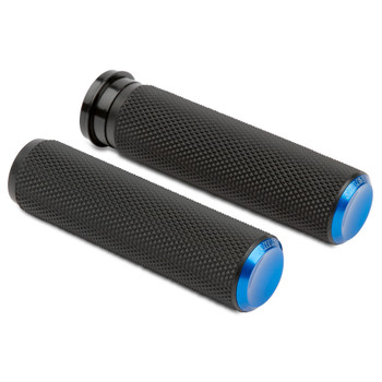 Arlen Ness Knurled Fusion Grips for Harley Electronic Throttle - Blue