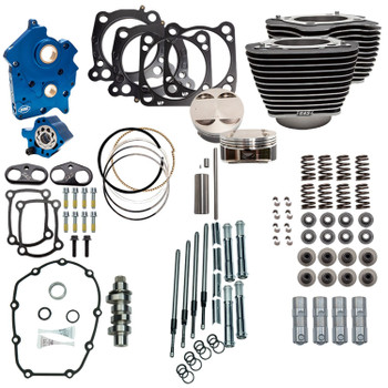 "S&S 128"" Power Pack Kit Chain Drive Water Cooled for 114"" Harley M8 - Highlighted Fins and Chrome Pushrod Tubes"