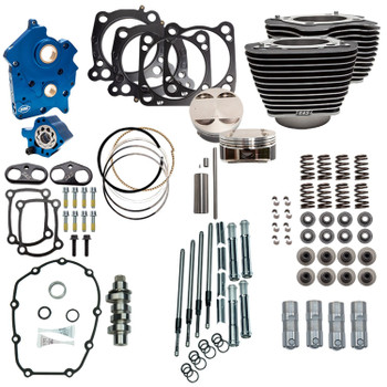 """S&S 128"""" Power Pack Kit Chain Drive Oil Cooled for 114"""" Harley M8 - Highlighted Fins and Chrome Pushrod Tubes"""