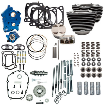 "S&S 128"" Power Pack Kit Gear Drive Oil Cooled for 114"" Harley M8 - Highlighted Fins and Chrome Pushrod Tubes"