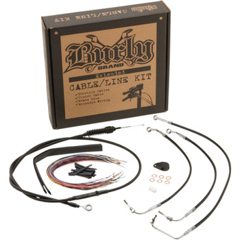 Burly Handlebar Cable and Brake Line Kit for 2017-2020 Harley FLHX Non-ABS - Black