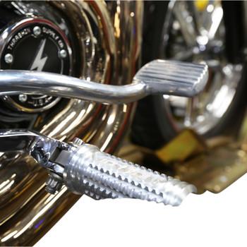 Thrashin Supply Burnout Foot Pegs for Harley - Raw Silver