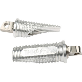 Thrashin Supply Burnout Foot Pegs for Harley - Raw Silver
