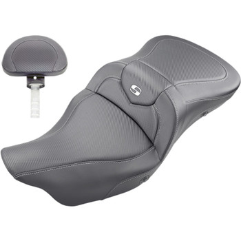 Saddlemen Heated Road Sofa CF Seat with Backrest for 2008-2020 Harley Touring